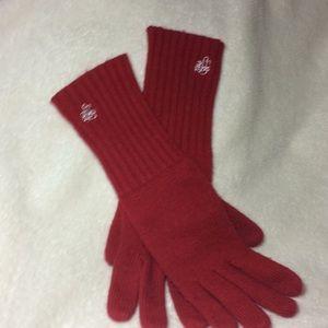 Ralph Lauren red knit long gloves monogrammed LRL
